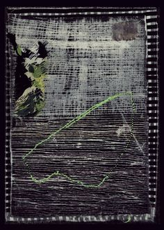 Dorothy Caldwell, Below the Surface/Iceberg, 2011, wax resist and silkscreen discharge on cotton with stitching and appliqué, 9 1/4 X 6 3/4 in., framed 17 1/8 X 15 1/8 in., SOLD.