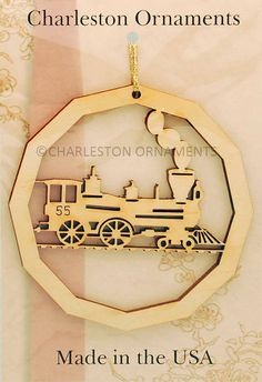 Unique Wooden Train Ornament, Train Gift, Train Ornaments Free Personalization
