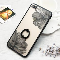Fashion Cartoon Flower Case For iphone 7 6 6S Plus Phone Cases Classics Black White Floral Back Cover Cute Capa With Ring Stand-in Phone Bags & Cases from Phones & Telecommunications on Aliexpress.com | Alibaba Group