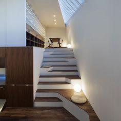 Asymmetric Staircase Incorporates Sitting Areas