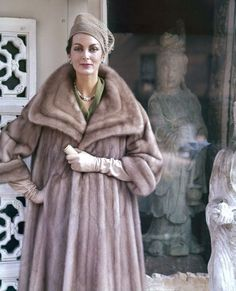 Carmen 1959  Photo by Virginia Thoren #photography #fashion #taupe #vintage #fur #coat