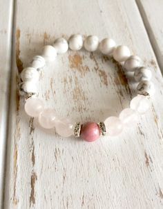 Help to Release Anger ~ Genuine Rose Quartz, White Howlite & Rhodonite Bracelet w/ Swarovski Crystal Spacers