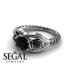 Unique Engagement Ring 14K White Gold Flower by SegalJewelry