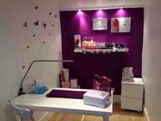 Nail room idea. Love the purple color
