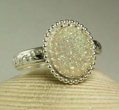 Sterling Silver White Druzy Ring Titanium by TazziesCustomJewelry