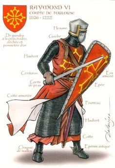 Raymond VI - comte de Toulouse. Fils de Raymond V, il est comte de Melgueil (1173-1190) puis comte de Toulouse, de Saint-Gilles, duc de Narbonne, marquis de Gothie et de Provence. Lors des croisades albigeoises, il prend le parti des croisés, puis change de camp et soutient les Cathares contre Simon de Monfort. Postal ilustrada por Patrick Dallanégra.
