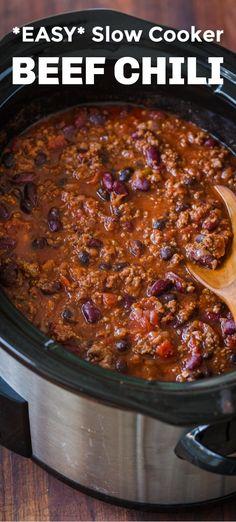 Ground Beef Recipes, Crockpot Recipe With Ground Beef, Beef Chili Recipe With Beans, Crockpot Chili Recipes, Easy Chili Recipe, Homemade Chilli Recipe, Crockpot Meals, Best Chili Recipe For Kids, Kitchen