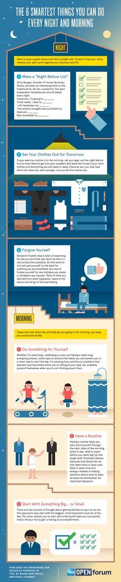 As 6 Coisas Mais Inteligentes Que Pode Fazer Todas as Noites e Manhãs [Infográfico]