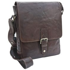 Trent Range Rugged Brown Small Roughewn Leather Messenger Bag