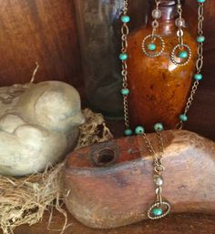 BoHo Chic Necklace & Earring Set with Round by AJunkersJournal, $35.00