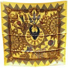 Hermes Excellent Silk Lor Des Chefs Gold Scarf
