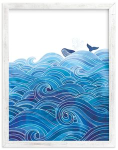seas the day Wall Art Prints by Stardust Design Studio Kids Canvas Art, Art Wall Kids, Canvas Art Prints, Art Kids, Wood Canvas, Canvas Frame, Ocean Drawing, Wave Drawing, Girl Watercolor