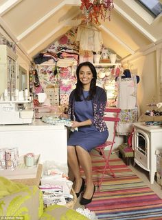 Storage: She built the tent when she ran out of room in her house for her sewing equipment. Unique use of space for a #sewing #room!