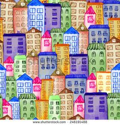 Original watercolor painted houses in Amsterdam architecture style. Colorful seamless pattern, raster illustration. Can be used for cute kids print or textile design. - stock photo