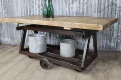 Original industrial trolley table #unique