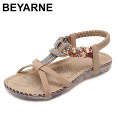 aa8e4173c55e BEYARNE Rhinestone Ladies Sandals Summer Woman Shoes Bohemian Women Sandals  Fashion Flip Flops Women Casual Sandals