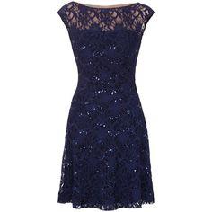 be736e8467 Lauren Ralph Lauren Malika Dress, Lighthouse Navy ($255) ❤ liked on Polyvore  featuring