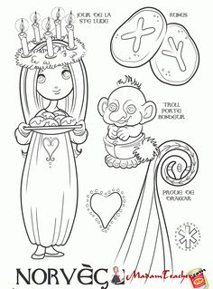 Norway paper doll to color School Coloring Pages, Colouring Pages, Coloring Books, Coloring For Kids, Adult Coloring, Little Passports, Middle School History, Christmas Worksheets, Celebration Around The World