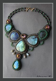 Beaded embroidered jewelry, lovely colors!