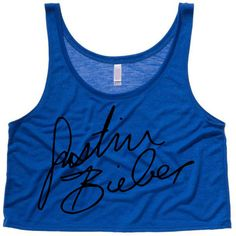Justin Bieber Signature Cropped Tank Top (Preorder) ($20) ❤ liked on Polyvore