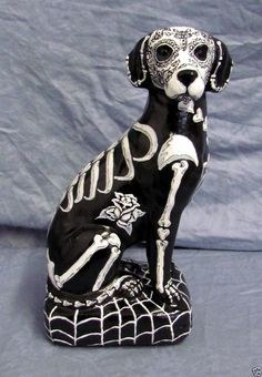Day of the Dead Painted Sugar Skull Dog Statue Labrador  Dia De Los Muertos