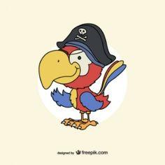 Dessin vecteur de perroquet pirate Parrot Drawing, Pirate Parrot, Pirates, Vector Free, Disney Characters, Fictional Characters, Birds, Drawings, Illustration