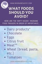 What foods should you avoid if you have migraines? Chocolate, dairy products, cheese, eggs, citrus fruits, pickled meat, salami, etc. Gather the details and try this migraine elimination diet to help master your attacks @migrainesavvy #migrainerelief #migraines #migrainediet Migraine Doctor, Migraine Hangover, Migraine Diet, Migraine Attack, Migraine Relief, Chronic Migraines, Chronic Illness, Fibromyalgia, Migraine Pressure Points