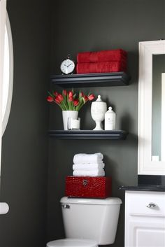 I actually love the grey red for a small powder room - sublime-decor