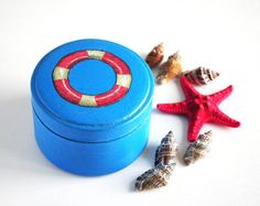 Nautical wooden box - turquoise box for jewelry, navy blue, red, ring buoy, marine, ocean, beach party, nautical wedding - ready to ship. $20.00, via Etsy.