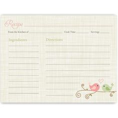 Love Birds Recipe Card