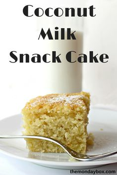 Coconut Milk Snack Cake is ideal for after-school snack, coffee breaks, and late night study sessions. Lightly sweet, with a soft, tender texture, this cake is back-to-school fuel! Easy to make, no mixer needed!| themondaybox.com #coconut #coconutmilk #snackcake