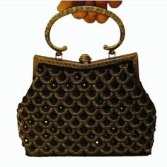 A Formal Vintage Style Glimmer Black Evening Handbag, Black Artificial Diamonds and Sequins Decorated W/shoulder Chain $37.99