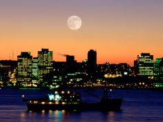 night skyline in Halifax NS, the capitol city, population 285,831, in 1917 a French munitions ship collides with a Belgian releif ship, and exploded into what was the largest man-made explosions, it decimated the city north end and killed over 2000 and injured 9000,