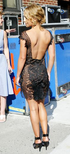 sexy lace dress... not sure she realizes she's practically naked but its kinda cute