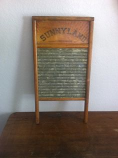 Sunnyland Logo ~Wood and Metal Wash Board Good Condition Manufactured by Columbus Washboard Co. Wash Board, Wood And Metal, Washing Clothes, Laundry Room, House Ideas, Dreams, Antiques, Etsy, Vintage