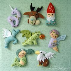 mini felt mythical creatures--awesome!     pattern pdf's