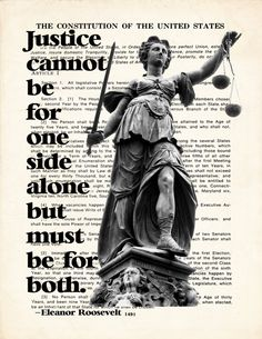 Fine Art Print Lady Justice with quote by Eleanor by ArtOfThePage