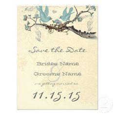 Shop Robin's Egg Blue Vintage Birds Save the Date created by samack. Save The Date Invitations, Save The Date Cards, Invites, Wedding Save The Dates, Our Wedding, Spring Wedding, Wedding Decor, Wedding Stuff, Wedding Ideas