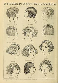 "Vintage advert for hair styles, ""get the flapper look by showing this advert to your barber"" Vintage Hairstyles, Bob Hairstyles, Flapper Hairstyles, Bob Haircuts, Popular Hairstyles, Hairdos, Female Hairstyles, Victorian Hairstyles, Woman Hairstyles"