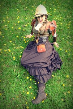 STEAMPUNK  Lady Adventurer at rest  Great outfit  From fyeahsteampunk:    On the way other end of the spectrum, some very traditional British steampunk.  Source:http://fc01.deviantart.net/fs71/i/2012/187/8/6/the_summer_suns_by_ai_for_art-d5696h0.jpg