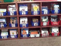 Color Coded bins for easy organization. Each book should have  corresponding color sticker