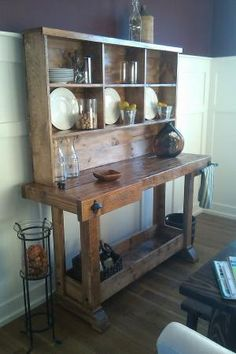 Love the name of this work bench....Markham Workbench Console and Rustic Hutch | Do It Yourself Home Projects from Ana White