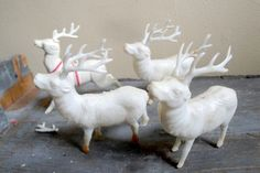 Vintage Four White Plastic Christmas Reindeer Ornaments