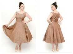 1950s Scallop Collar BOMBSHELL Dress- 32 Waist, M/L, Taupe Brocade Rhinestone FIt and Flare Dress, Pinup, Retro, Vintage Prom, Bridesmaid