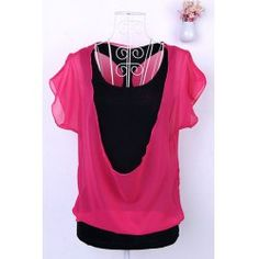 Chiffon Splicing Short Sleeve Scoop Neck Faux Twinset T-Shirt For Women