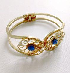 Rhinestone Clamper Bracelet Blue Vintage by CrimsonVintique