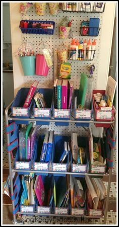 Homeschool organization with Really Good Stuff! Featuring: Really Good Student Bins Organizing Rack with Book and Binder Holders, Store More Saddlebag Chair Pockets, and Pencil & Marker Baskets (hanging on peg board).