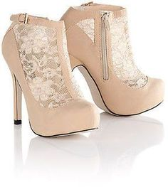 Blue Inc Womens Almond Toe Lace Panel Zip Up High Heels Going Out Shoes Beige on shopstyle.co.uk