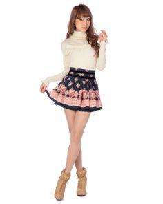 Holčičí móda Rizurisa oficiální zásilkový popularita v Shibuya 109 | × kachle květinovým potiskem kalhoty | Kalhoty