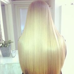 Long straight smooth blonde hair the California girl next door look